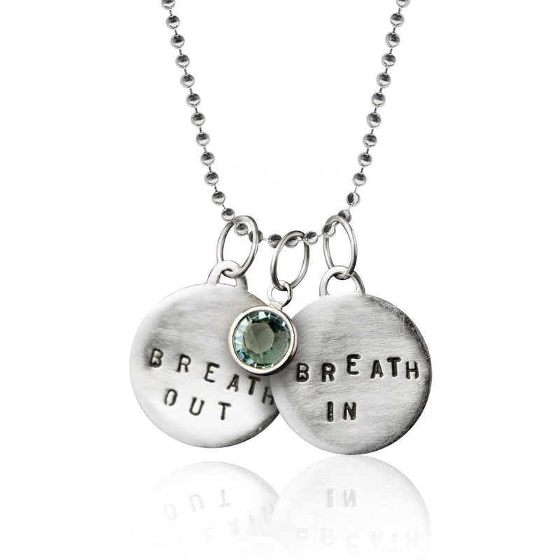 Sterling Silver Breath In Breath Out Yoga Necklace