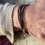 Positive Energy Yoga Wrap Bracelet with Ohm Charm, Copper Bronze Crystal