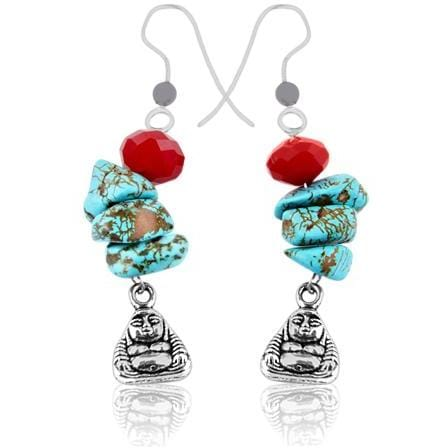 Yoga Earring with Buddha, Red Crystal and Turquoise