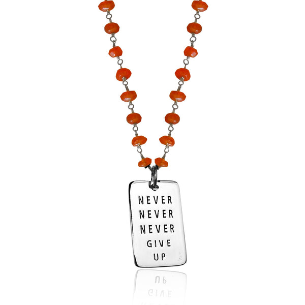 Inspirational Sterling Silver Never Give Up Dog Tag on Silver Wire Wrapped Carnelian Necklace