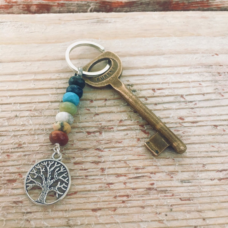 7 Chakra Keychain with Healing Gemstones to Release Emotional Baggage
