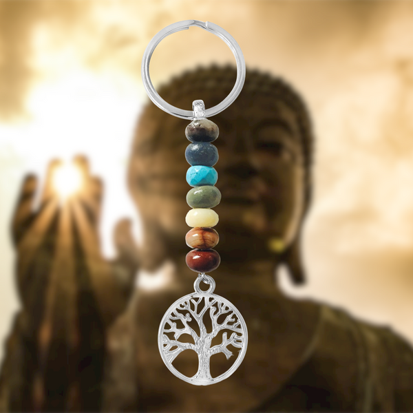 7 Chakra Keychain with Colorful Crystals and the Tree of Life for Spiritual Development