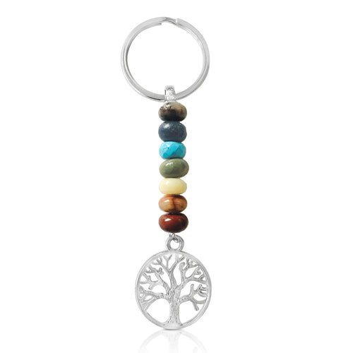7 Chakra Keychain with Healing Gemstones to Release Emotional Baggage and a Cosmic Tree Pendant to serve as a positive, healthy model for the unfolding development of both psyche and spirit.