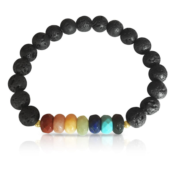 Lava Stone Chakra Bracelet with Healing Gemstones to Release Emotional Baggage