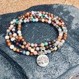 Chakra Wrap Bracelet with Lotus Flower and Gemstones to Release Emotional Baggage