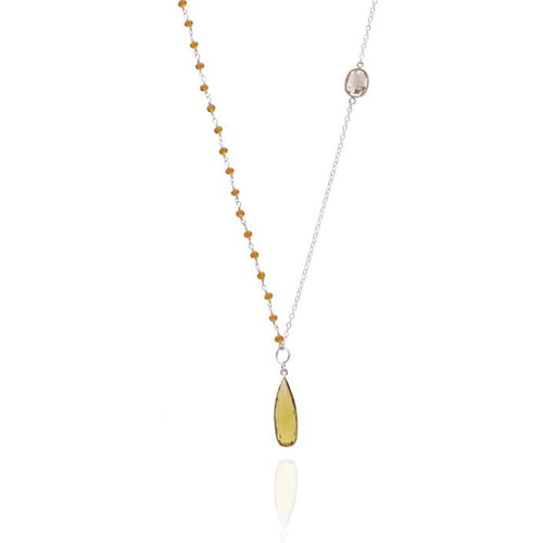 Asymmetrical Sterling Silver Citrine Quartz Crystal Sunshine Necklace for Success