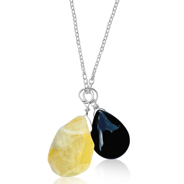 Citrine Quartz and Onyx Necklace for Success in Life