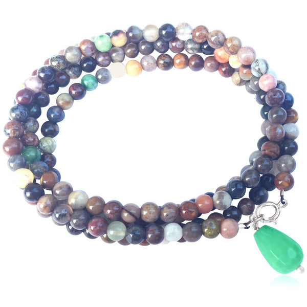 Mindfulness Wrap Bracelet with a Mix of Semi-Precious Chakra Healing Stones