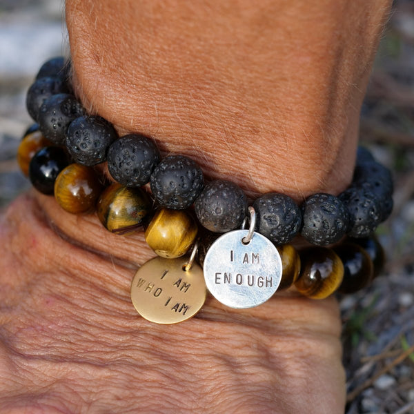 I am who I am - Affirmation Bracelet with Tiger Eye