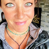 Gogh Jewelry Design Brand Ambassador Dawn Rubick ( Titanium Mermaid ) wearing Enjoy the Journey - African Turquoise Wrap Bracelet with Rose Gold (Gold Filled) Compass Charm
