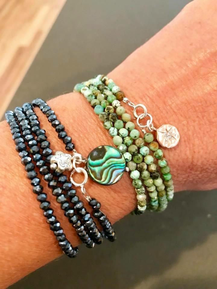 Enjoy the Journey Turquoise Wrap Bracelet with Rose Gold Compass Charm