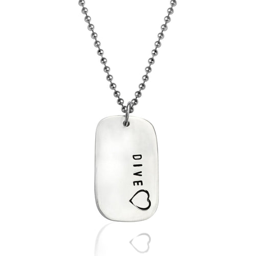 Diveheart Necklace - Sterling Silver Dog Tag