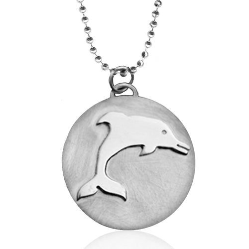 Sterling Silver Ocean Inspired Dolphin Necklace from the Miss Scuba Jewelry Collection