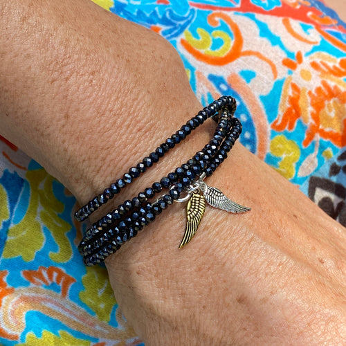 Guardian Angel Wrap Bracelet with Angel Wing Charms