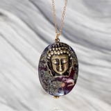 Dragon Blood Stone with Antiqued Buddha for Enhancing Life Force