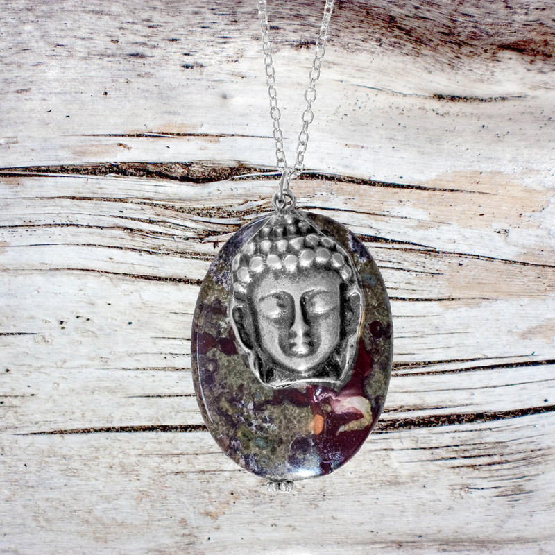 Dragon Blood Stone with Antiqued Silver Buddha for Enhancing Life Force