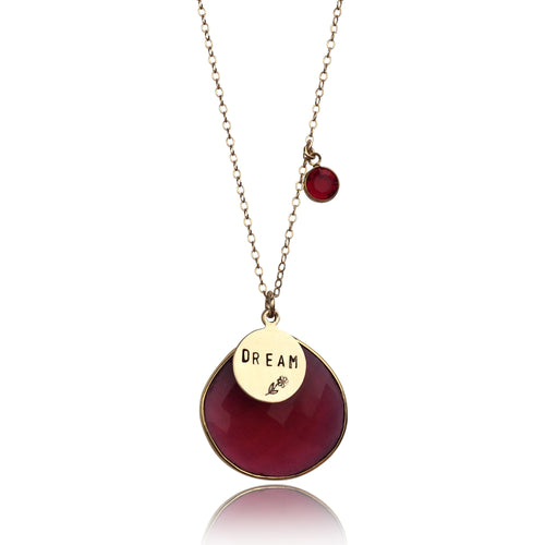 DREAM Gold Filled Necklace with Red Crystal for Vitality. A dream doesn't become reality through magic; it takes sweat, determination and hard work.