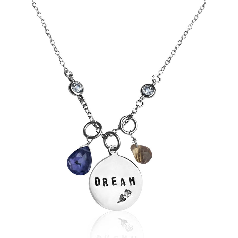 DREAM Inspirational Sterling Silver Necklace with Tanzanite and Citrine