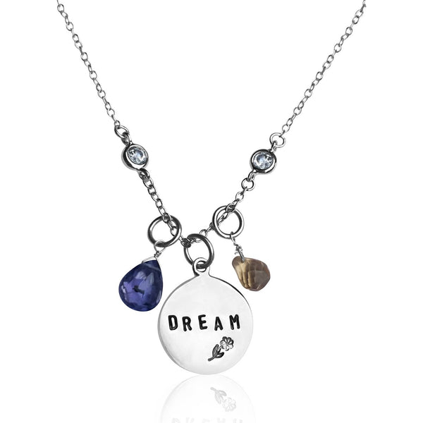 DREAM Inspirational Sterling Silver Necklace with Tanzanite and Citrine. A dream doesn't become reality through magic; it takes sweat, determination and hard work.