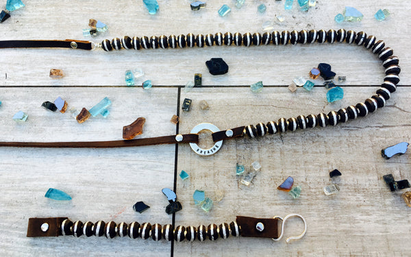 Serenity Statement Jewelry: African Ebony Wood, Leather Prayer Breathe Necklace to Celebrate Grounding and Individuality. Brings good vibes for gracefully aging women. Sophisticated, inspirational and yoga accessory. Mindfulness reminder to Inhale and Exhale.