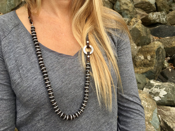 Serenity Statement Jewelry: African Ebony Wood, Leather Prayer Breathe Necklace to Celebrate Individuality. Brings good vibes for gracefully aging women. Sophisticated, inspirational and yoga accessory. Mindfulness reminder to Inhale and Exhale.