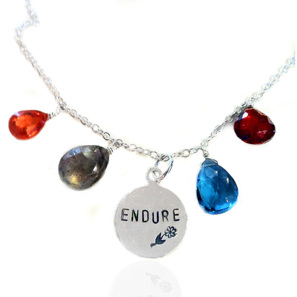 Motivational Sterling Silver ENDURE Necklace with Carnelian, Moon Stone, Aquamarine and Garnet Quartz Crystals.