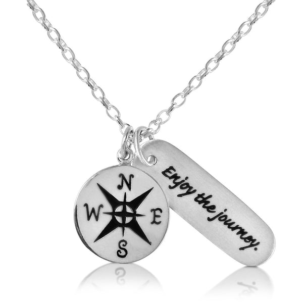 Sterling Silver Enjoy the Journey Inspirational Globe Trotter Quote Necklace with a Sterling Silver Compass Charm