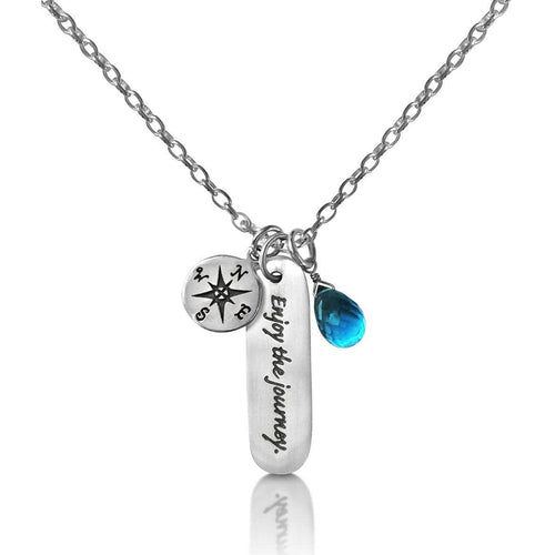 Sterling Silver Enjoy the Journey Inspirational Globe Trotter Quote Necklace with a Sterling Silver Compass and an Aqua Blue Quartz Charm