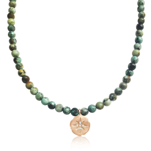 Enjoy the Journey - African Turquoise Necklace with Rose Gold (Gold Filled) Compass Charm for Travel and Adventure Lovers.