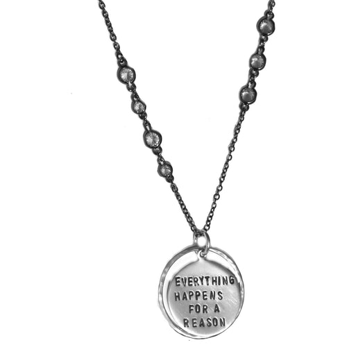 Sterling Silver Inspirational Everything Happens for a Reason Quote Pendant on an Antiqued Sparkly Necklace