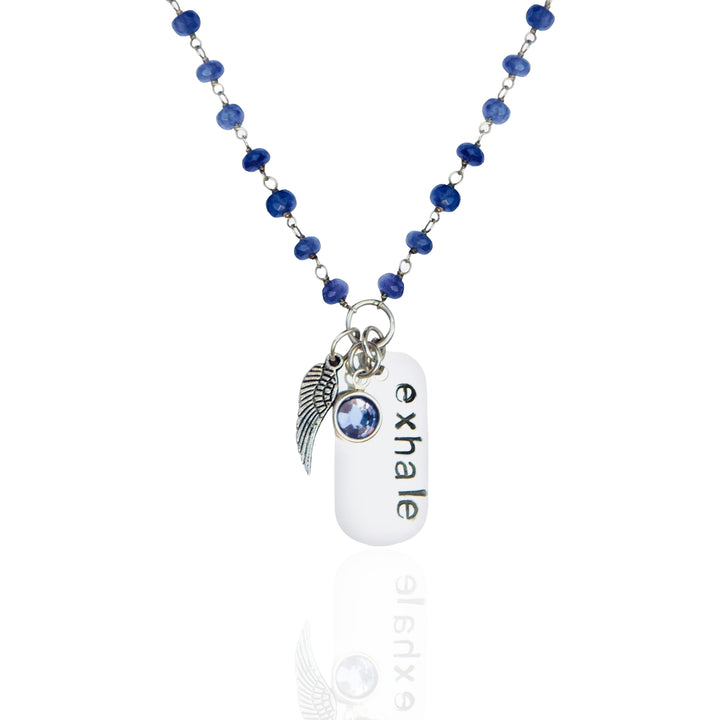 Sterling Silver Tanzanite EXHALE Dog Tag Necklace for Confidence and Individuality