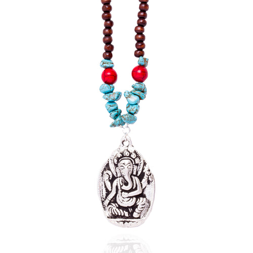 Ganesha Yoga Necklace for the Wise Person with Turquoise and Wood Mala Beads