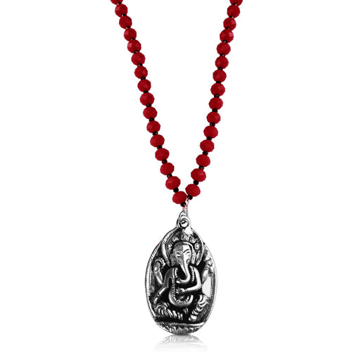 Gogh Jewelry Design Red Ganesha Mala Necklace