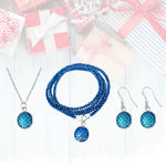 Gift Set for Kids: Be a Mermaid and Make Waves Necklace, Wrap Bracelet and Earrings