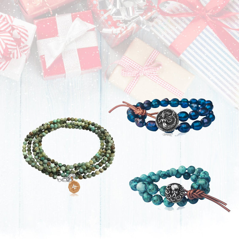 Superstars Set: Best Selling Mermaid Soul Bracelet, Turquoise Octopus Wrap and Enjoy the Journey Wrap Bracelet Trio - comes in a READY TO GIFT Box.