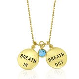 Gold Filled Breath In - Breath Out Pendants on a gold filled bead chain style necklace
