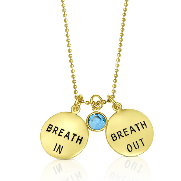 Gold Filled Breath In - Breath Out Pendants on a gold filled bead chain style necklace - inspired by my scuba diving, yoga and being a mom.