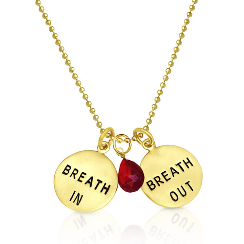 Gold Filled Breath In - Breath Out Pendants on a gold filled bead chain - with Garnet for Hope.
