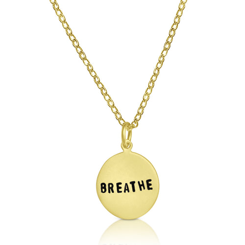 Hand stamped small gold plated BREATHE Necklace for yogis, scuba divers and for those who are just a little too busy, who forget to relax and enjoy the simpler things.
