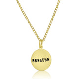 Hand stamped small gold plated BREATHE Necklace