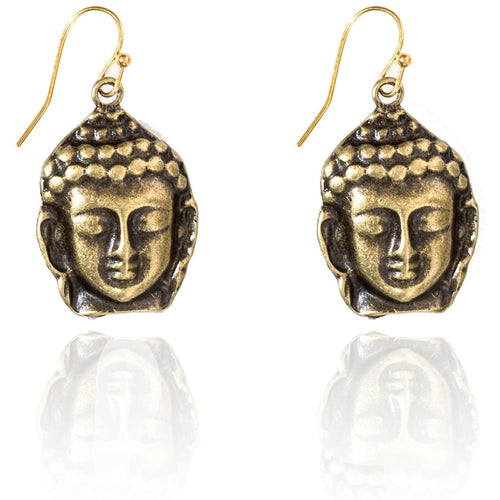 Antiqued Buddha Head Earring