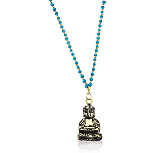 Unisex Long Yoga Inspired Turquoise Happy Buddha Necklace