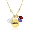 Gold Filled Inspirational Grateful Necklace with Tanzanite, Garnet and Rutilated Quartz