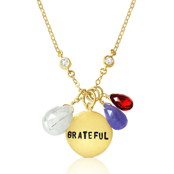 Gold Filled Inspirational Grateful Necklace with Tanzanite, Garnet and Rutilated Quartz to remind yourself to be grateful for all the good that happens to you.