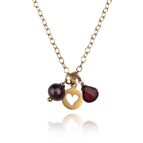 Attract Love - Gold Filled Heart Necklace with Garnet and Fresh Water Pearl.