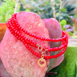 Gold Filled Heart on Red Crystal Wrap Bracelet for Self Love. Wear this bracelet as a reminder that Love starts with Self Love. If you don't love yourself, you can not love others, said the Dalai Lama. It is such a truth basic statement, yet many of us have a hard time living by the advice.