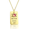 Never Give Up Gold Filled Necklace with Swarovski Crystal