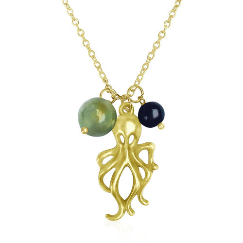 Octopus Ocean Charm Necklace with Prehnite and Pearl Charms on Gold Plated Necklace.