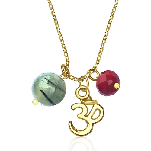 Ohm Charm Necklace with Prehnite and Red Crystal (GF)