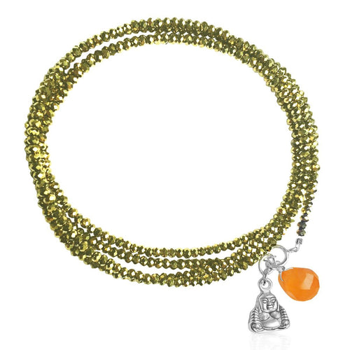 Mindfulness Inspired Protective Golden Shade Crystal Wrap Bracelet with Buddha and Carnelian Charms for Prosperity
